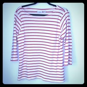 LL Bean L 3/4 Sleeve Red & White Striped Top